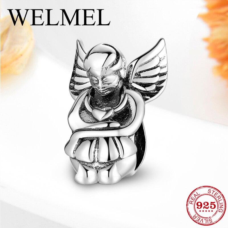 Silent thinking angel 925 prata esterlina contas de metal charme ajuste original feminino charme pulseira para as mulheres jóias diy