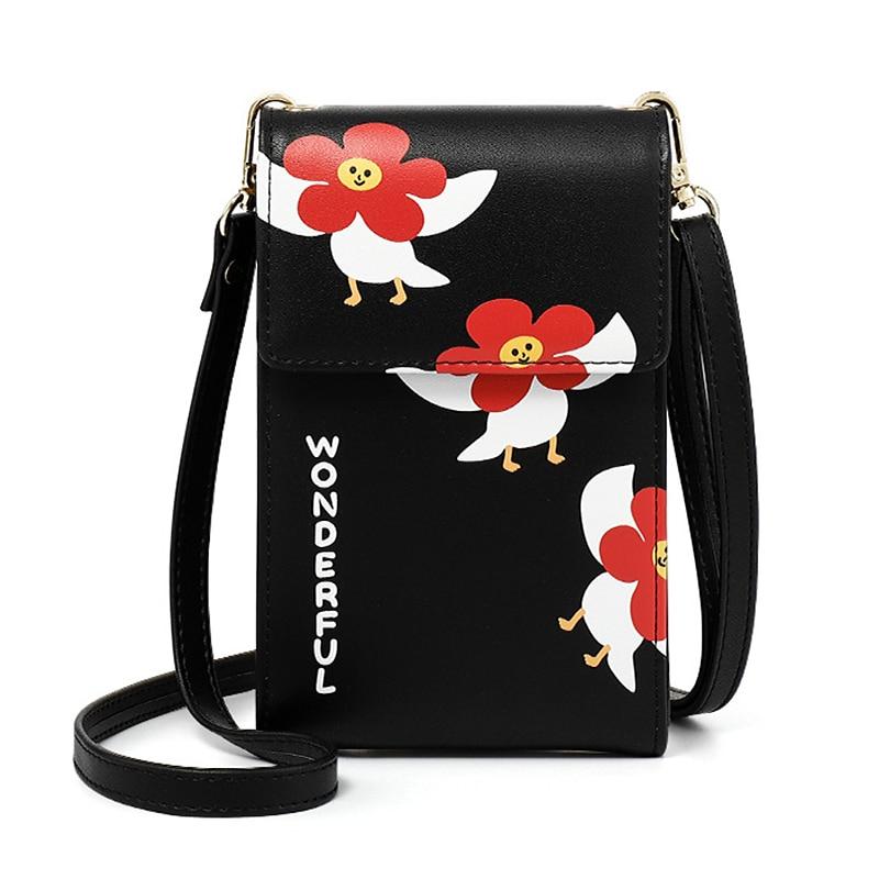 Bolso bandolera Floral bonito para mujer, de piel sintética bolso de hombro, Mini Bolso con solapa, bolso de Color liso clásico a la moda, bandolera para mujer