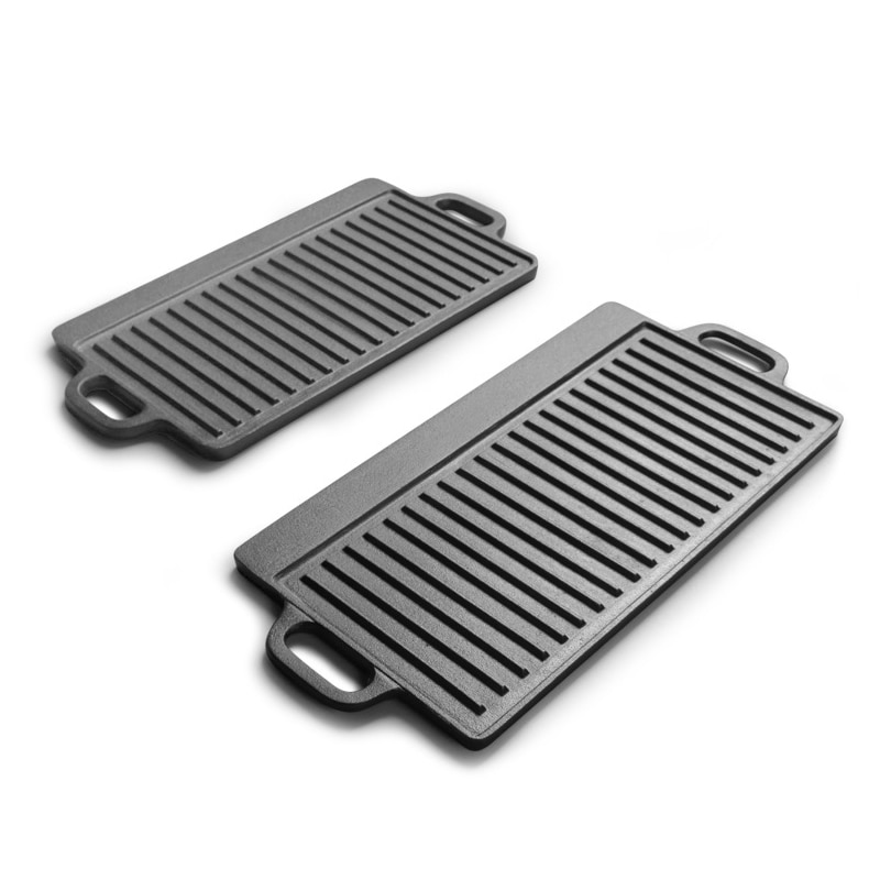 Cast Iron Outdoor Baking Tray Double-sided Iron Plate Cast Iron Pan BBQ Griddles Cookware