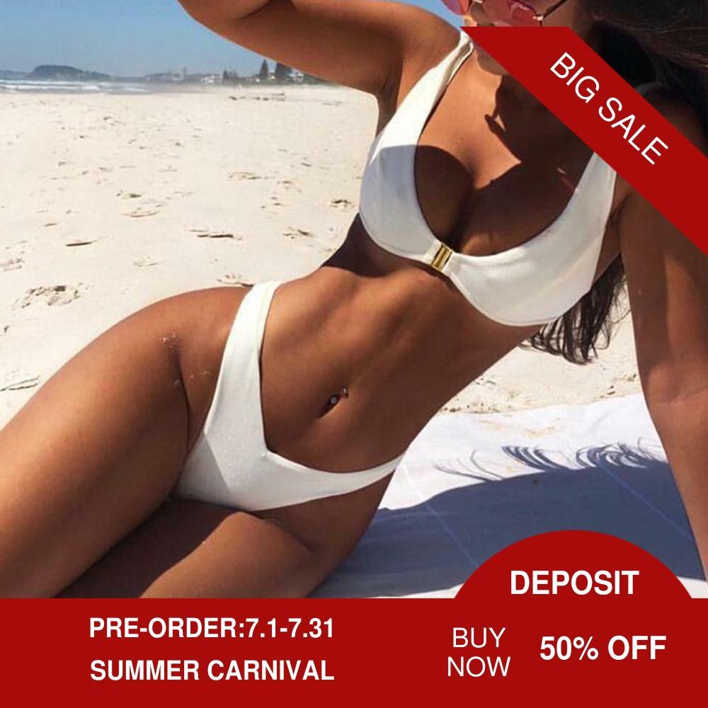 Hebilla de oro Bikini dividir traje de baño mujeres 2 piezas de las mujeres traje de baño Bikini de talle alto de 3 colores