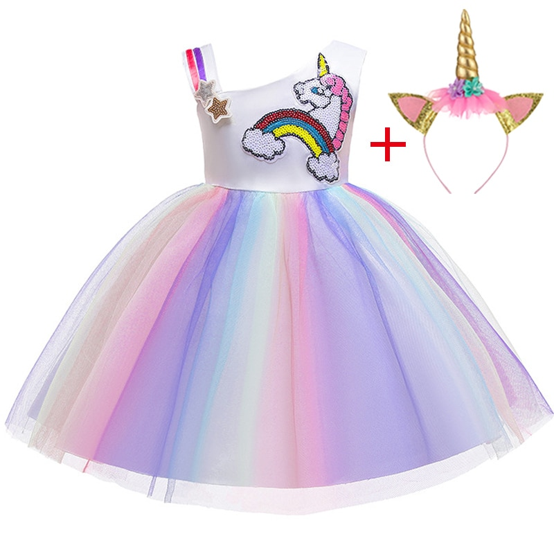 Girls Christmas Dress Unicorn Party Dress For Girls Kids Halloween Cosplay Costume Unicorn Embroid Clothing Kids Birthday Dress