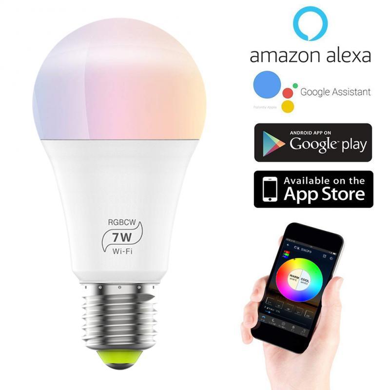 Smart Light Bulb 7w 4.5w Color Changing wifi Hue Light E27 RGB LED Bulb Dimmable Alexa Compatible Tuya Smart Life APP Google