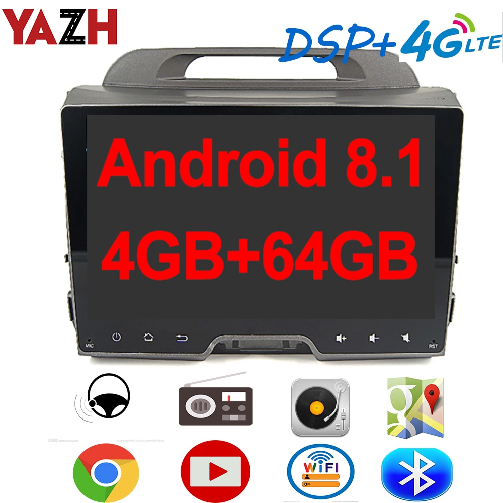 "YAZH 4GB 64GB coche Multimedia estéreo para Kia Sportage 2010-2015 con 9,0 ""IPS pantalla/5,0 Bluetooth/DSP/tarjeta SIM 4G/Carplay"