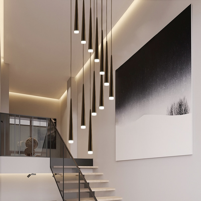 ثريا سقف طويلة بتصميم حديث ، إضاءة داخلية مزخرفة ، مثالية لغرفة المعيشة أو السلالم أو غرفة الطعام أو المطبخ.