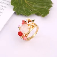 european and american new fashion trend personality temperament high quality enamel glaze pink flower ring ring female