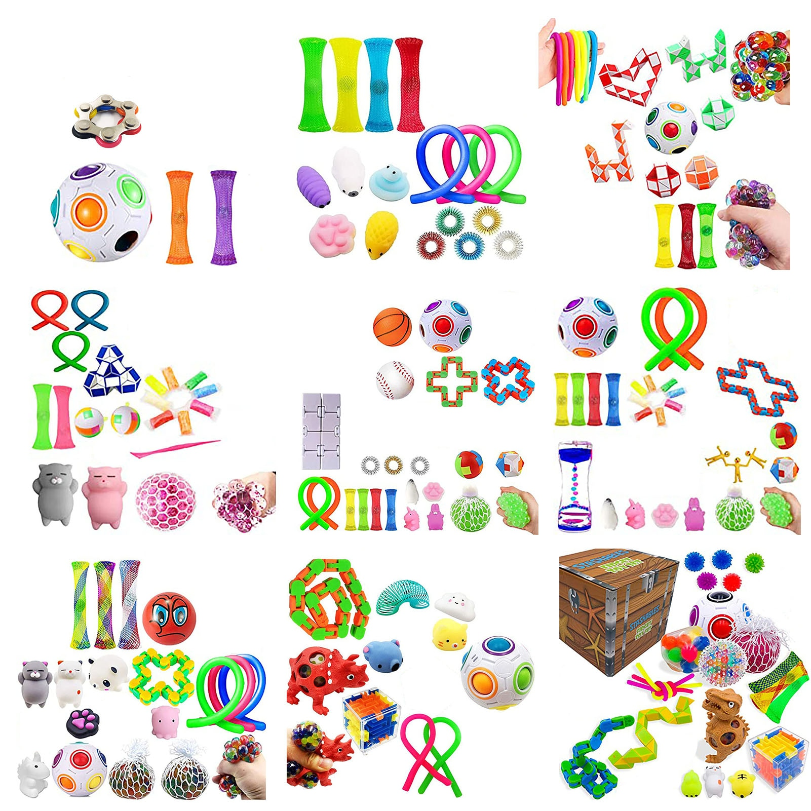 Sensory Fidget Toy Set 9 Sets Stress Relief Squeeze Toys Football Noodle Rope Dinosaur Deformation Chain For Kids Adults enlarge