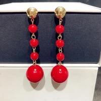 new fashion retro earrings exaggerated long size pearls temperament wild long tassel earrings