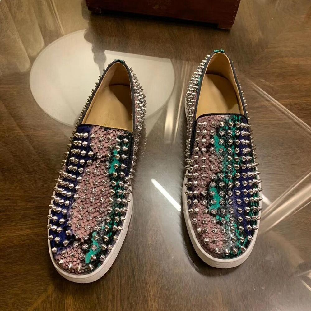 2021 New Men's Fashion Shoes luxury designer Spikes Leather Shoes  Handmade Colorful Elegant Man Fas