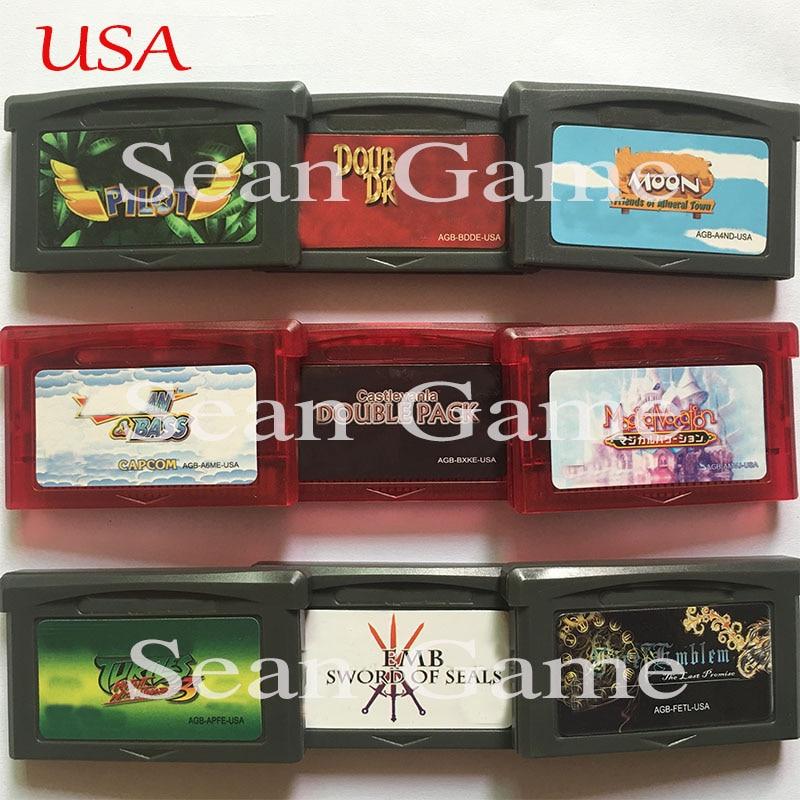 32 bit eua jogo de vídeo cartucho cartão piloto/duplo dragão/cidade mineral/pacote duplo/férias mágicas/tartarugas 3/fogo emblema versão