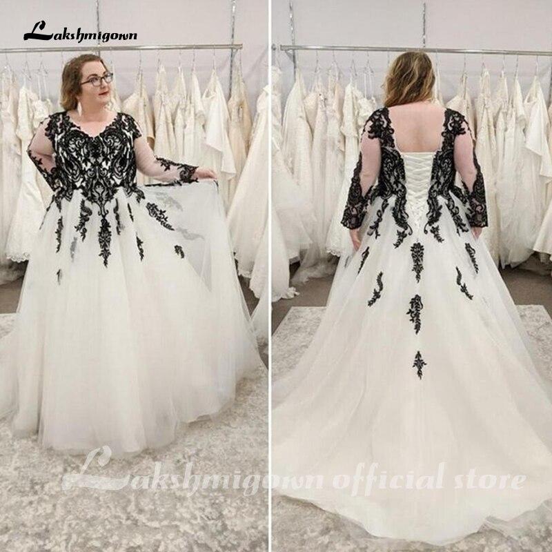 Plus Size Wedding Dresses Black Lace White Ivory Tulle Long Sleeve Corset Back A Line Floor Length B