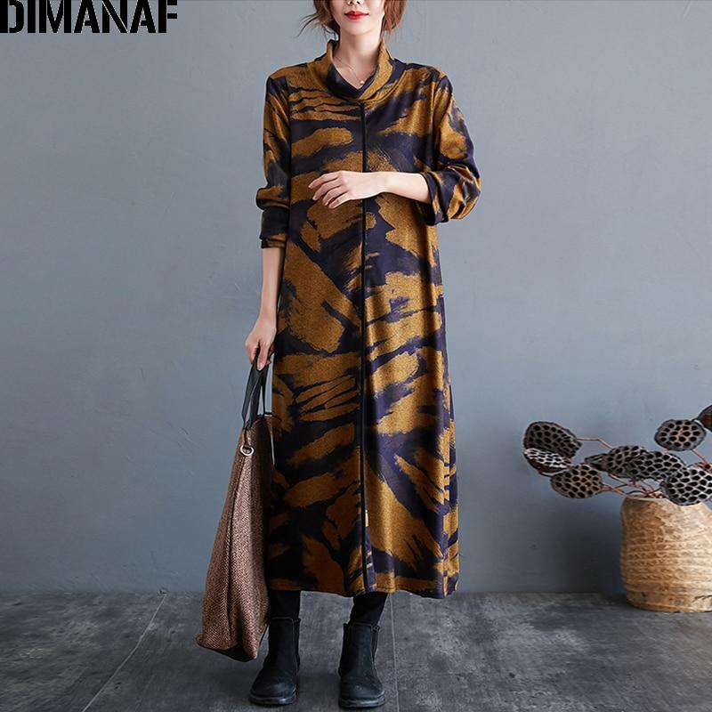 DIMANAF Plus Größe Frauen Kleid Vintgae Rollkragen Winter Elegante Dame Vestido Baumwolle Dicke Lose Lange Hülse Kleidung Indie Folk