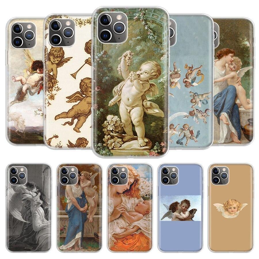 Engel Amor Kunst Telefon Fall Für iPhone 11 Pro 7 6X8 6S Plus XS MAX + XR 5S Elf Kunst TPU Abdeckung Coque Capa Shell