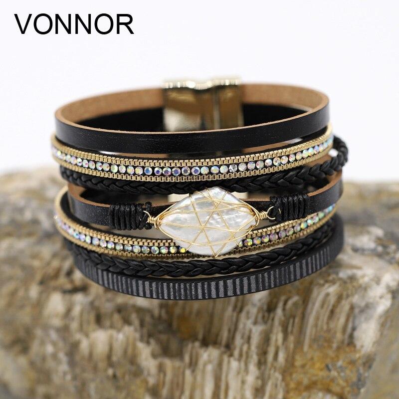 Pulseras de perlas naturales irregulares a la moda para mujer joyería de cuero multicapa Cierre magnético pulsera brazalete de alta calidad