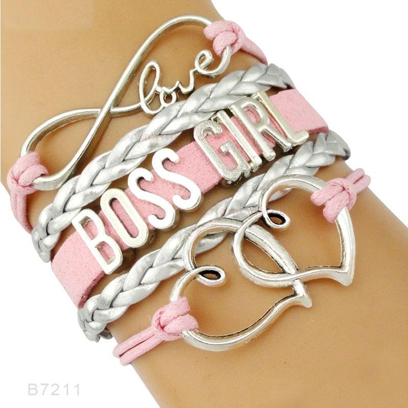 Big Boss Mom Mama Girl Babe Heart Bracelets Infinity Love Heart Charm Pink Black Wrap Leather Bracelets