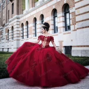 Gorgeous Vestidos De 15 Anos 2020 Puffy Red Beaded Quinceanera Dresses Off the Shoulder Sweet 16 Dress Long Bridal Wedding Gowns