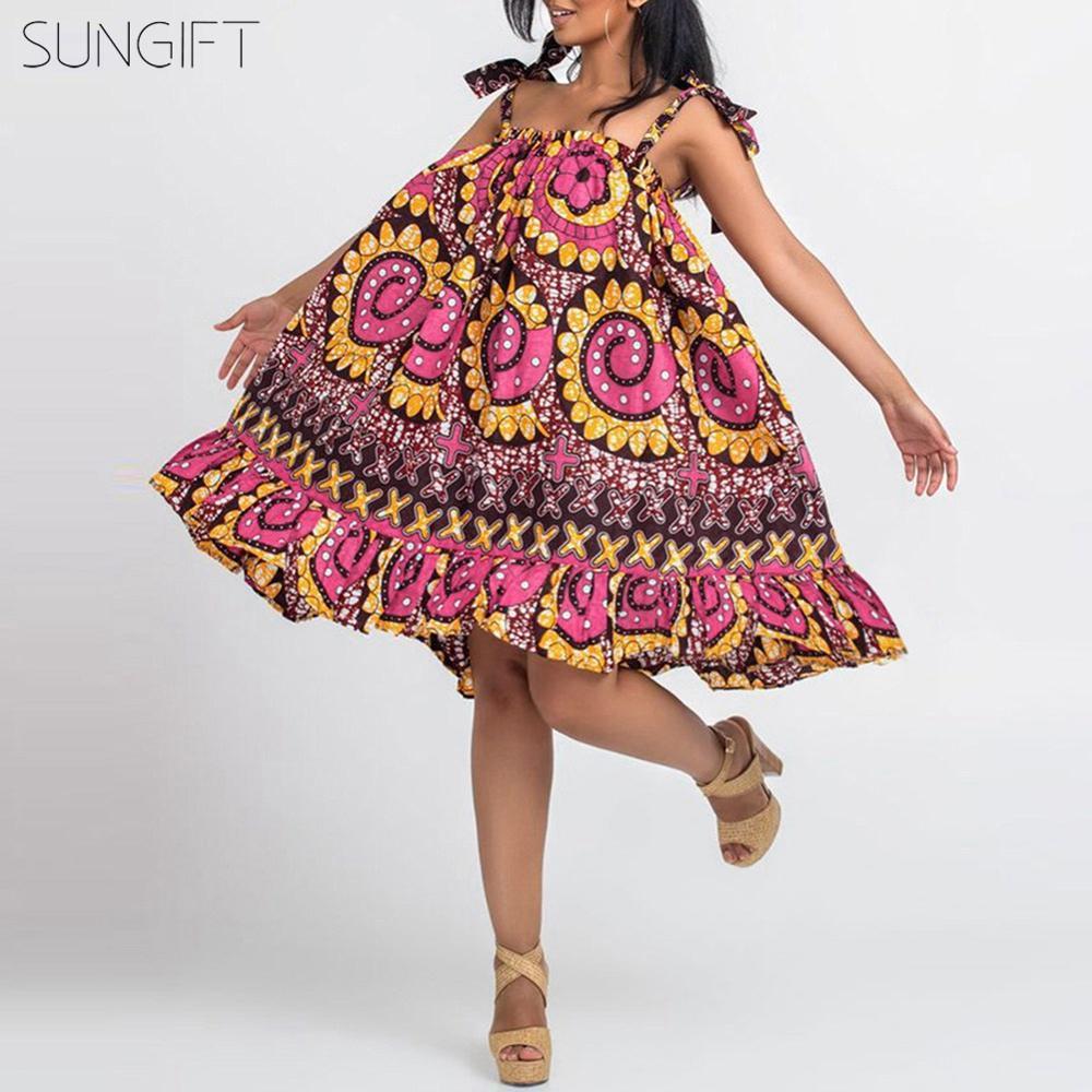 Женское мини-платье на бретельках SUNGIFT, Летнее мини-платье в африканском стиле с оборками и без рукавов, большие размеры, 2019