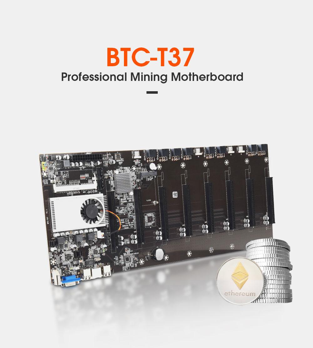 BTC-37 مينر اللوحة الأم وحدة المعالجة المركزية مجموعة 8 فيديو فتحة للبطاقات DDR3 الذاكرة المتكاملة VGA واجهة انخفاض استهلاك الطاقة