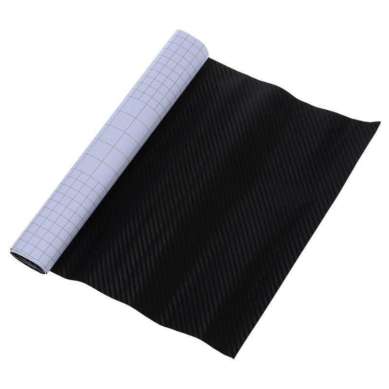 152*30CM negro 3D fibra de carbono cromo pegatina que se envuelve automáticamente lámina de vinilo brillante