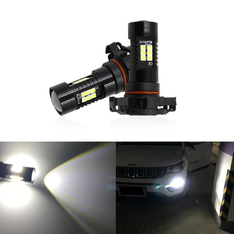 2x PSX24W 2504 12276 PG20-7 bombillas blancas DRL de coche para Jeep Compass 2017 2018 2019 bombilla delantera de luz diurna