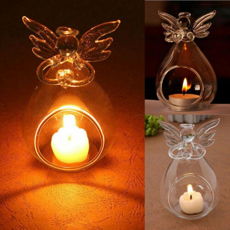 1PC Hollow Glass Angel Candle Holder Home Garden Night Wedding Outdoor Tea Light Decor