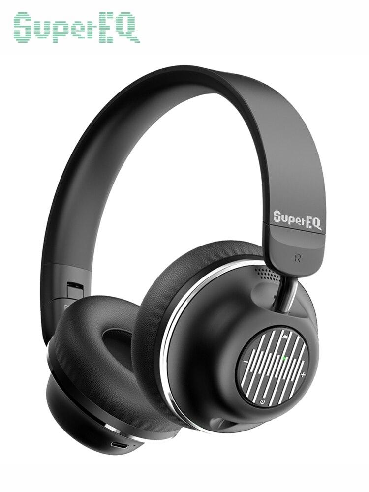 Supereq s2 anc sem fio fones de ouvido 5.0 bluetooth fone de ouvido com fio dobrável fone de ouvido de alta fidelidade com cvc8.0 microfone de redução de ruído para o telefone