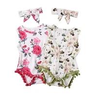 summer newborn baby girls sunsuit clothes floral playsuit sleeveless tassel jumpsuit headband set