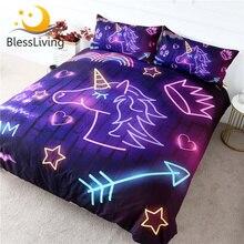 BlessLiving Lila Einhorn Bettwäsche Set Leucht Bettbezug Bunte Regenbogen Bettdecken Neon Licht Krone Bett Set für Kinder 3 stücke