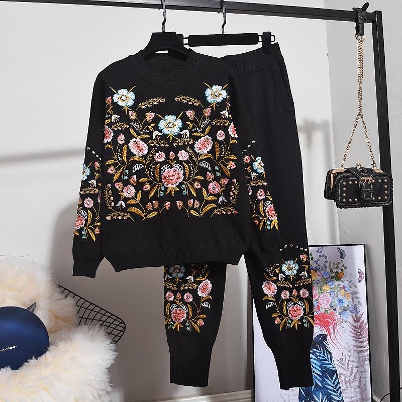 Outono inverno roupas femininas 2020 nova moda bordado flor manga comprida camisola de malha + pequenos pés calças 2 peça conjunto