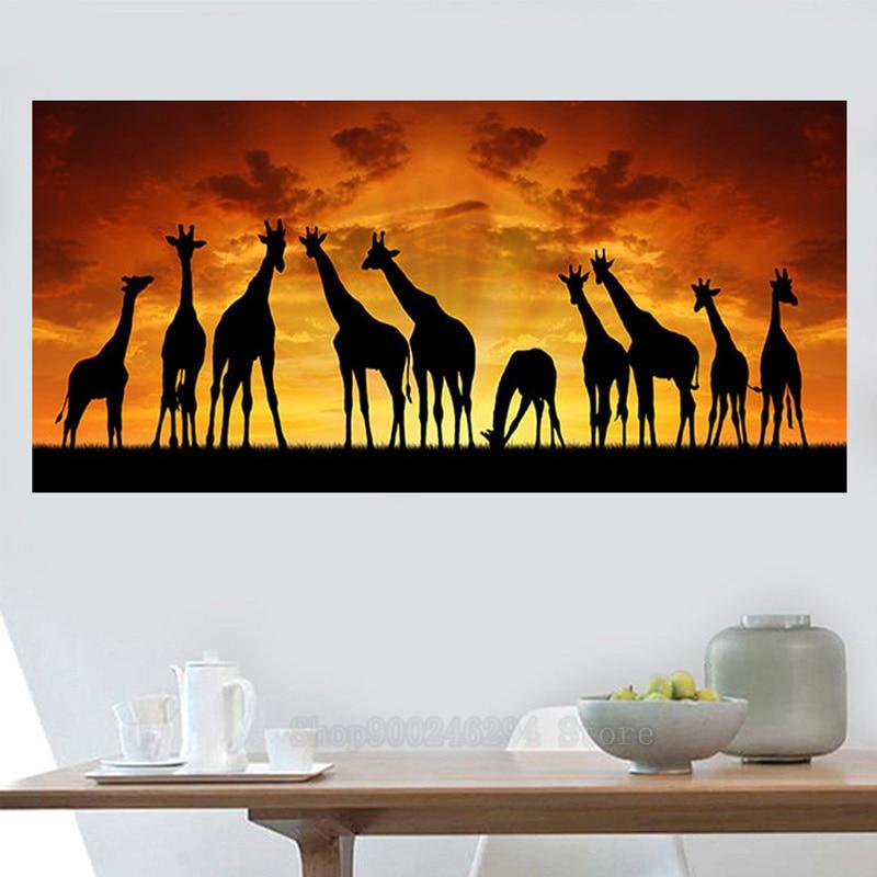 África arte puesta de sol jirafa paisaje 5d diamante pintura taladro redondo grande Diy diamante bordado punto de cruz Kit diamante FF1299