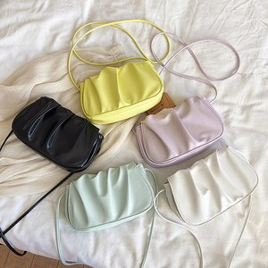 Women Cloud Bag Retro Alligator Pattern Crossbody Bags Pleated Thick Chain Bag Pu Leather Clutches Dumpling Shoulder Bags