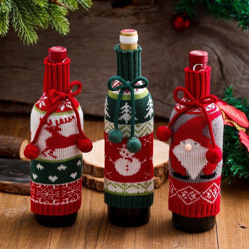 Snowman Wine Bottle Cover Winebottle Cover Xmas Santa Claus Gifts Christmas Decor Elk Jubilant Hair Ball  Knitting Decoration santa claus snowman elk christmas decorations wine bottle cover plaid linen bottle decoration champagne bottles topper bag