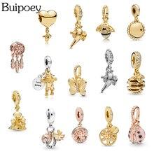 Buipoey 2pcs Gold Aladdin Lamp Scarecrow Queen Bee Pendant Charm Fit Pandora Bracelet For Women Necklace Bracelet Bangle Gift