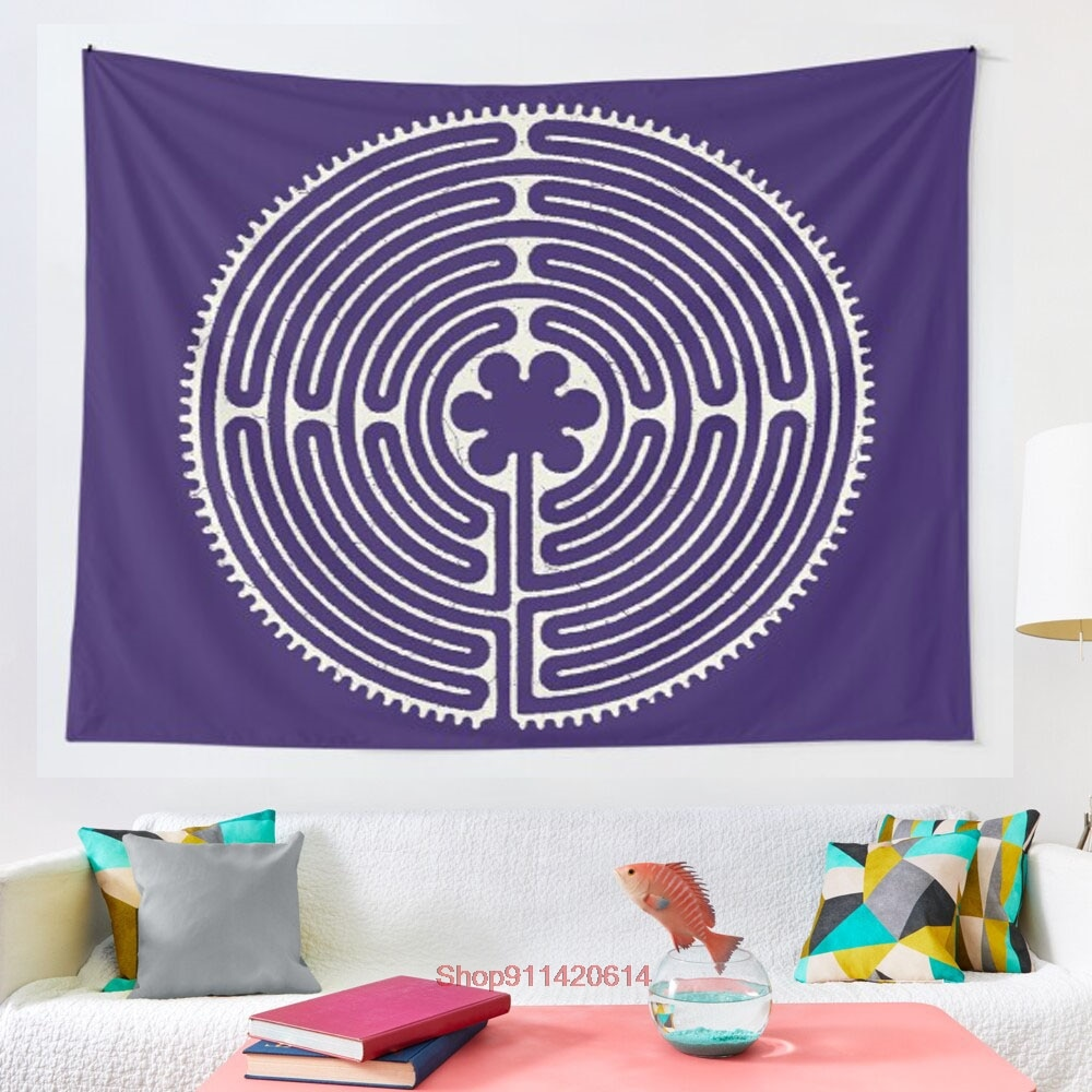 Sacred Geometry Symbol Chartres Labyrinth 4 tapestry Art Wall Hanging Tapestries for Living Room Home Dorm Decor