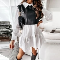 new pu leather patchwork plaid shirt dress women 2021 chic mini a line long sleeve casual short dress party multi style dress