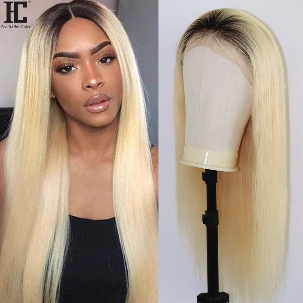 1B/613 Honey Blonde Lace Front Wig Middle Part 13x1 Brazilian Straight Ombre Human Hair Wigs 150% Remy Lace Part Wig Pre Plucked