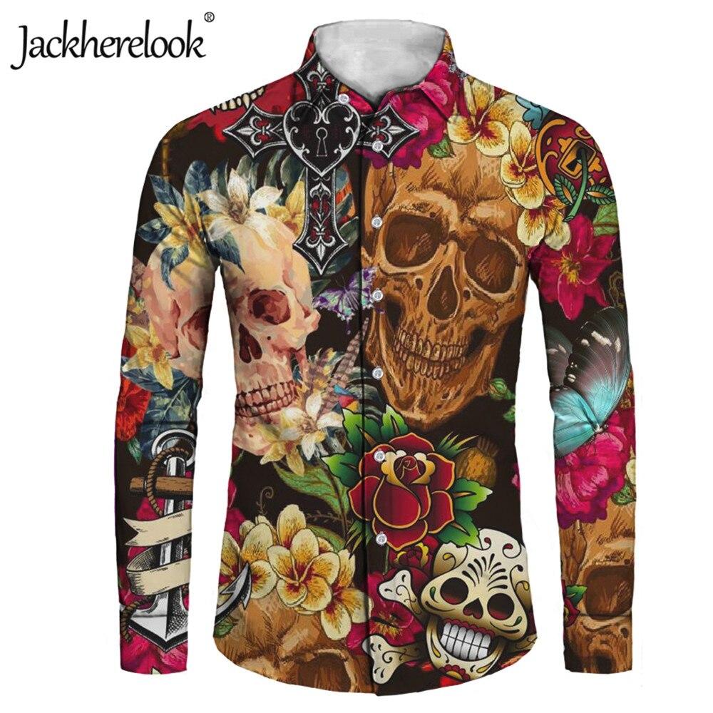 Jackherelook-Camisa Vintage para Hombre, Camisa de manga larga con calavera de azúcar,...