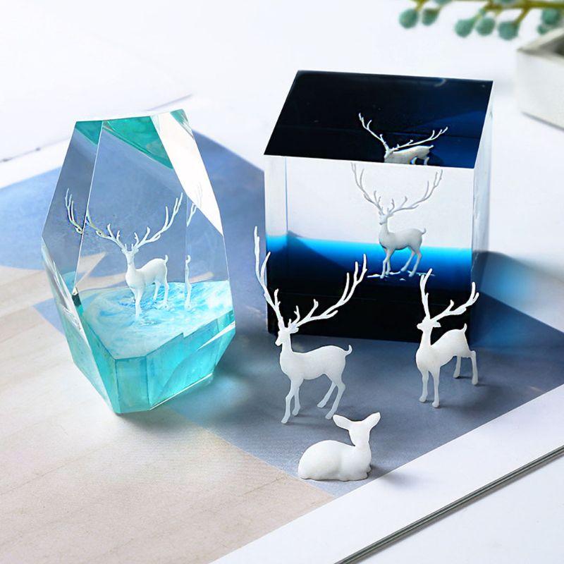 Molde de resina para modelado de alce y ciervo, relleno de resina Landspace, relleno de resina para joyería, relleno de resina para manualidades, 3 uds.