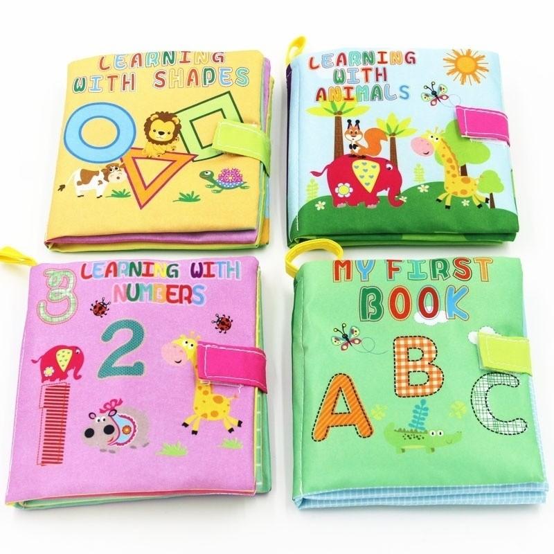 Тканевые учебники для детей, Обучающие игрушки, звуковые игрушки, книга для малышей, для младенцев, 4 книжки, стильные мягкие тканевые игрушк...