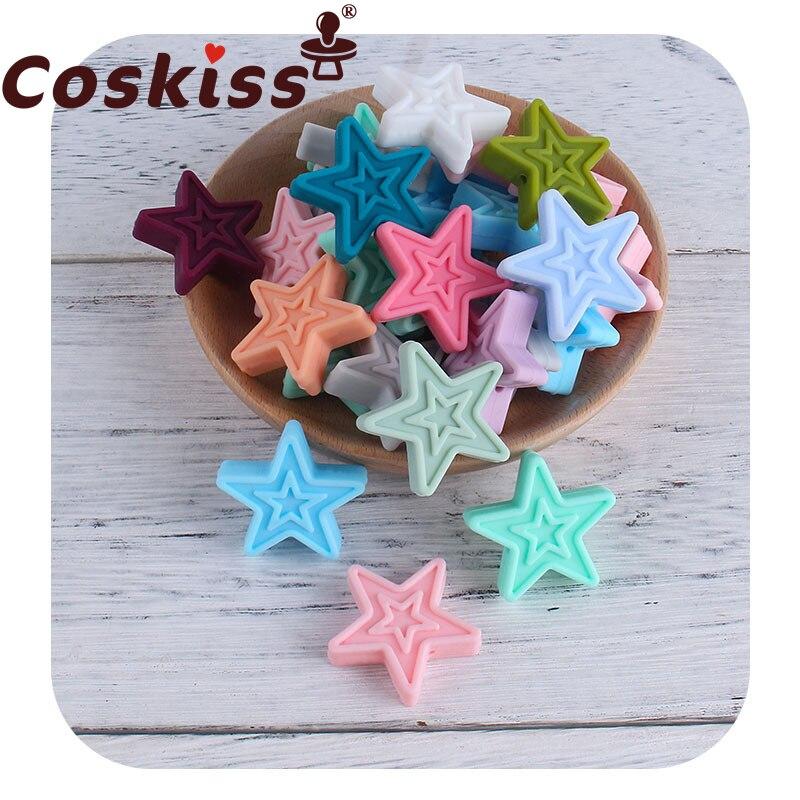 Coskiss, двойная пятиконечная звезда, 5 шт., силиконовая пентаграмма, без БФА, детское ожерелье для прорезывания зубов, Аксессуары для браслета