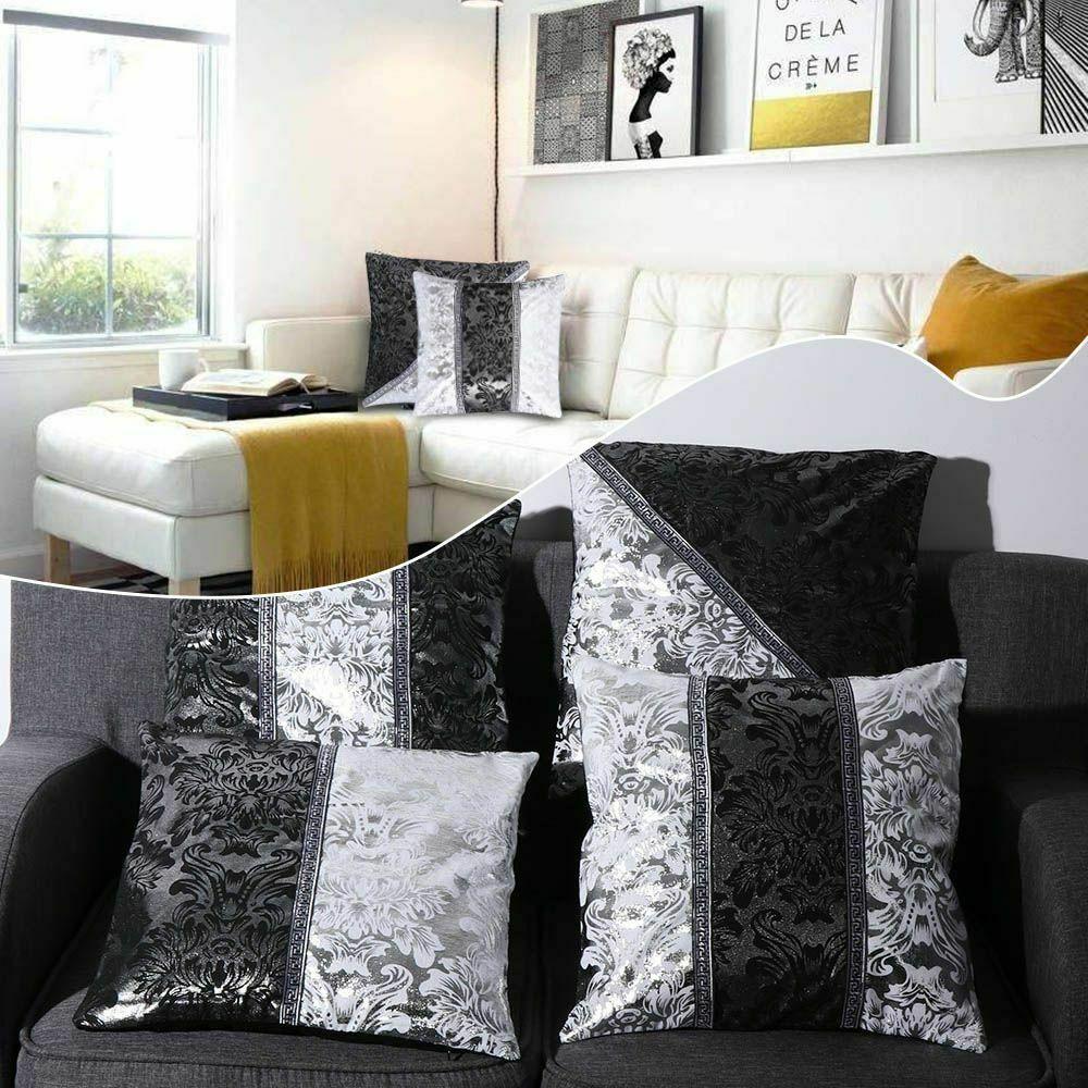 Silver Luxury Vintage Velvet Decorative Cushion Cover Floral Pillow Case For Car Sofa Decor Pillowcase Home Pillows 45 x 45cm