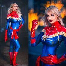Disfraz de Halloween Carol Danvers para adultos y niños, traje Zentai de superhéroe para mujer y Niña
