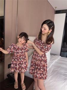 Summer floral skirt little daisy girl's word neck parent-child dress girl dress  girls clothes