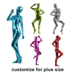 Customize exotic Zentai Suit womens Unitard Turtleneck Catsuits Metallic Footed Zipper Zentai Bodysuit Dancewear Hoodless