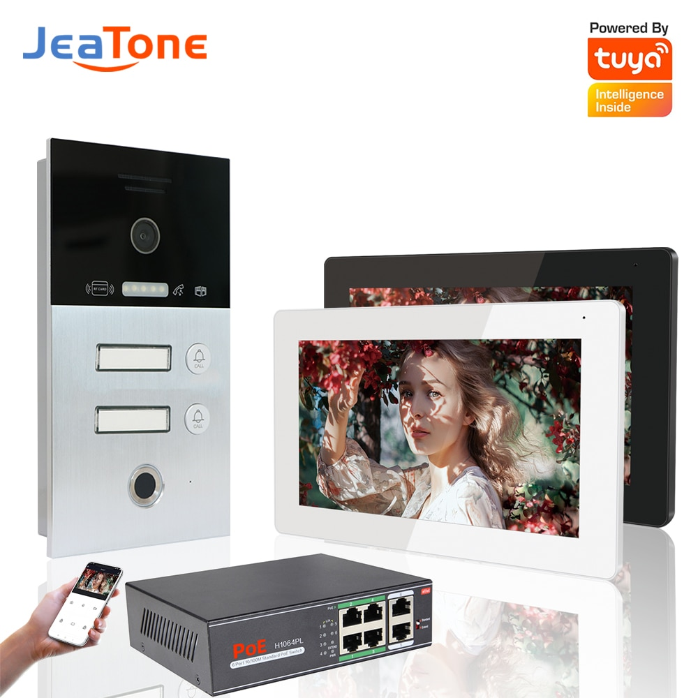 Wireless IP Video Intercoms System For 2 Units Apatment With Card Fingerprint Unlock Video Door Entry Access Control Home Phone