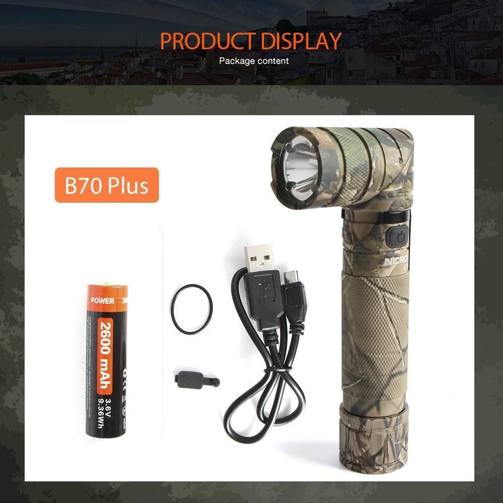 NICRON Magnet 90 Degree Rechargeable LED Flashlight Handfree 1200LM Ultra High Brightness Waterproof Camo Corner LED Torch B70