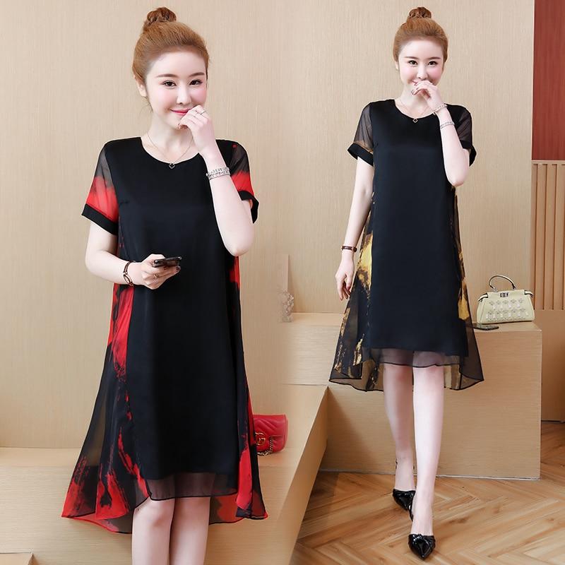 Vestido solto plus size de verão amarelo vermelho preto elegante, feminino, festa, decote redondo, manga curta, L-5XL