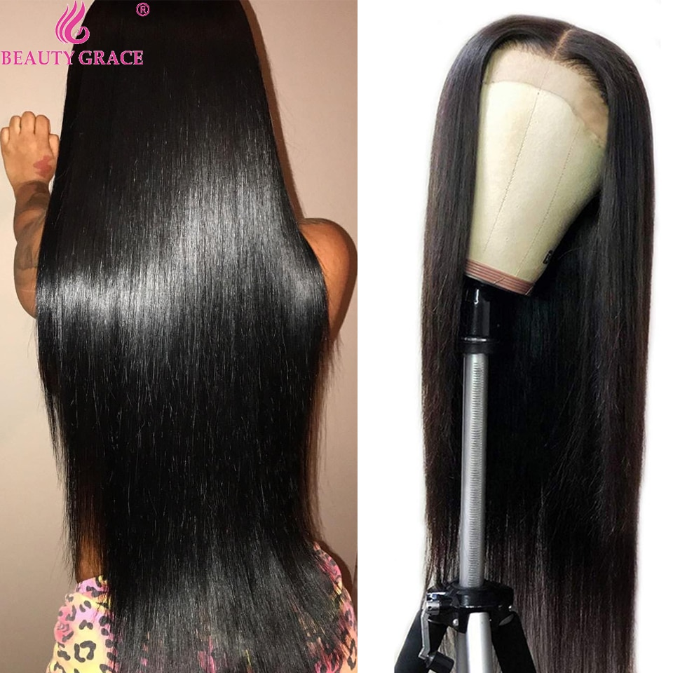 40 Inch Human Hair Wig Pre Plucked Brazilian Straight 4X4 Lace Closure Wig Lace Frontal Wigs For Women Human Hair