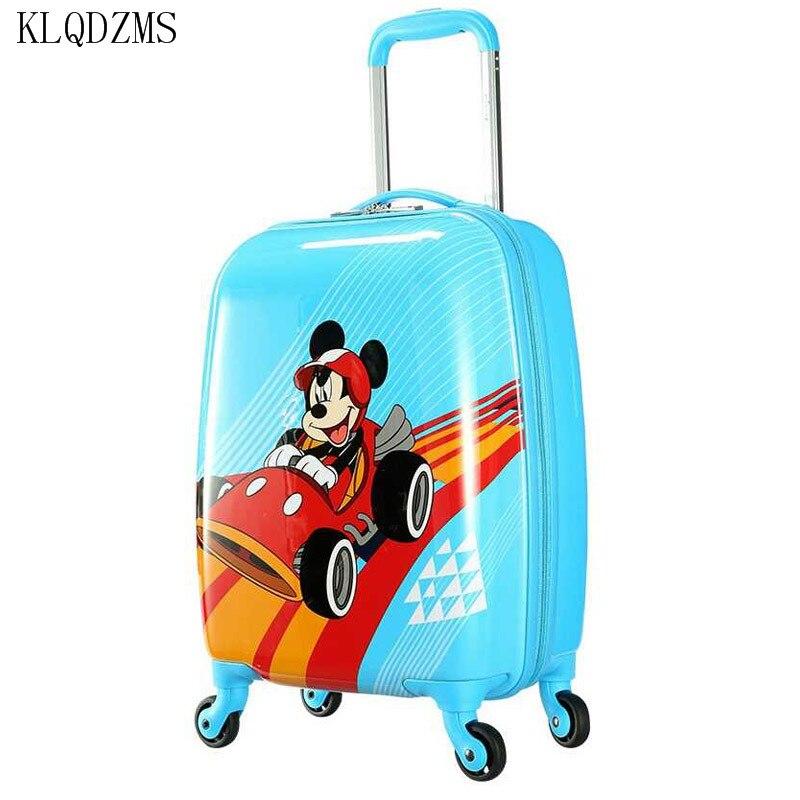 KLQDZMS 20 pulgadas maleta de viaje de dibujos animados niños carry on trolley bolsas ABS PC equipaje rodante spinner en la rueda