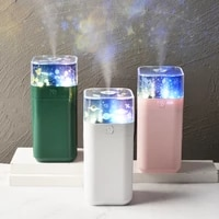 square projection lamp humidifier usb air purification moisturizing mini mini humidifier with led night light heavy fog volume