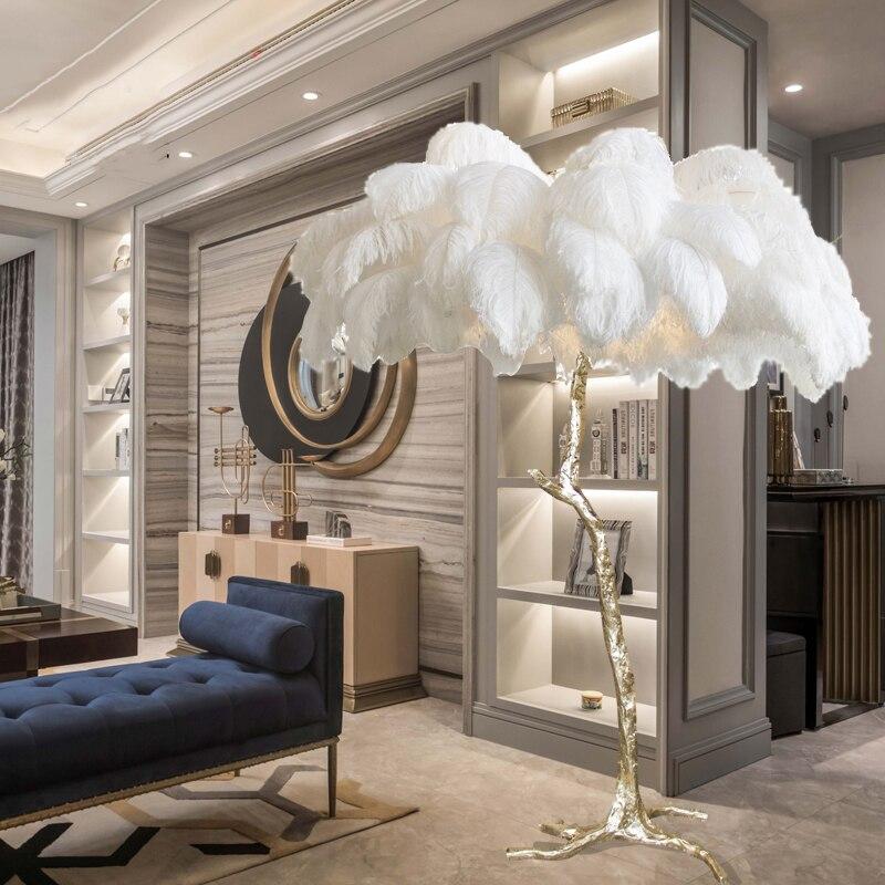 Современные страусиные перья для гостиной светодиодные Торшеры для гостиной спальни Современное Внутреннее освещение Декор напольный све...